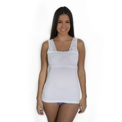 Bamboo Camisole Top With Lace WHITE