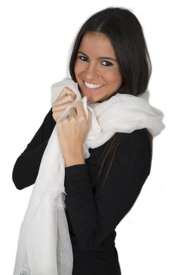 WCS-5000-16 SOFT-PALE CREAM Luxurious Pure Cashmere Woven Scarves