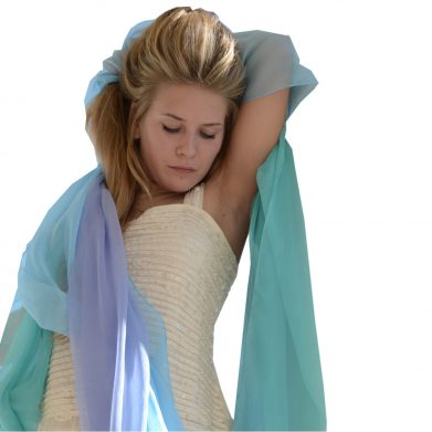 Luxury Pure Silk Crepe Chiffon Scarves Capri Blue Collection www.silkyboo.com