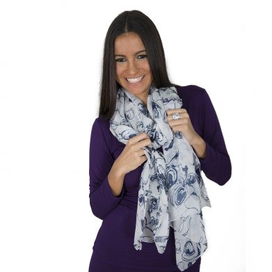 Painted Blue Rose WSN-8009 Pure Mulberry Chiffon Silk Scarf www.silkyboo.com