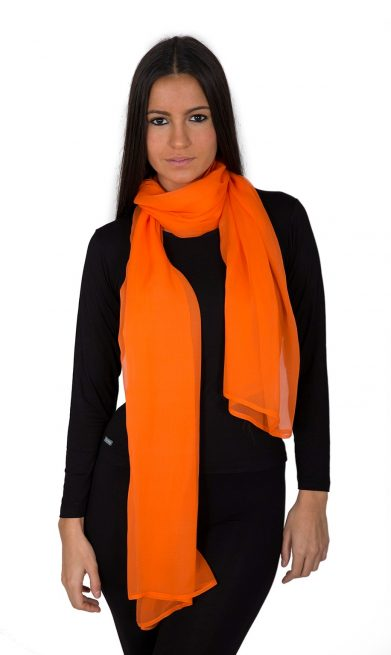 Luxury Pure Silk Crepe Chiffon Scarves Cream Orange Yellow Coral Casablanca Collection Electric Orange WSN-3039-56 www.silkyboo.com .