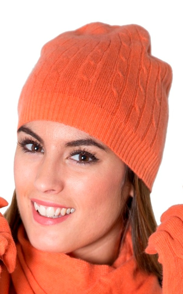 2b1ea8e1451 Luxurious Pure Cashmere Classical Cable Knitted Beanie Hat Dark Coral  www.silkyboo.com