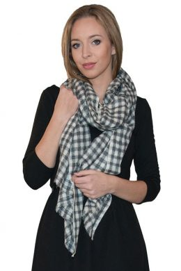 Pure Cashmere scarf CHEQUER Pattern Gre-Soft White WCS-5019-192 www.silkyboo.com y - Copy