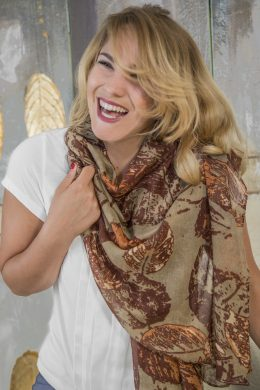 Autumn Leaf Print Scarves Terracotta Orange WNS-5000-1 www.silkyboo.com