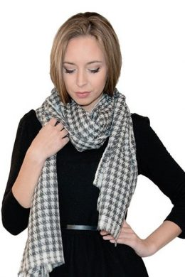 Pure Cashmere Scarf Dogtooth Pattern Grey-Soft White WCS-5019 www.silkyboo.com