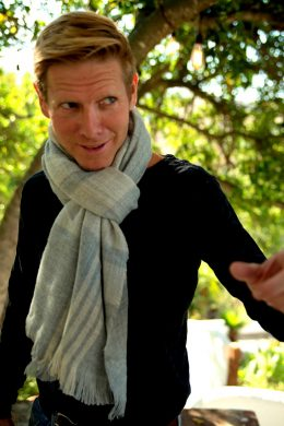 Winter Scarf for Men UNS-35017-Light Blue Light Grey Chequer www.silkyboo.com